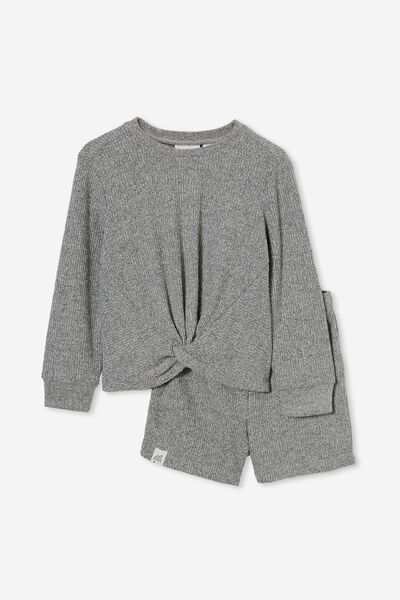 Abbie Knotted Front Long Sleeve Pyjama Set, SUMMER GREY MARLE