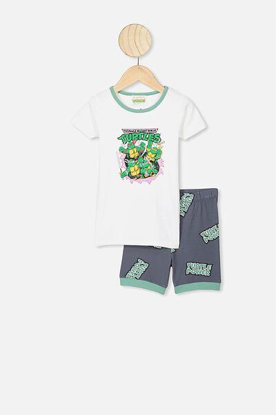Ted Short Sleeve Pajama Set, LCN NIC DARK VANILLA/RABBIT GREY TMNT