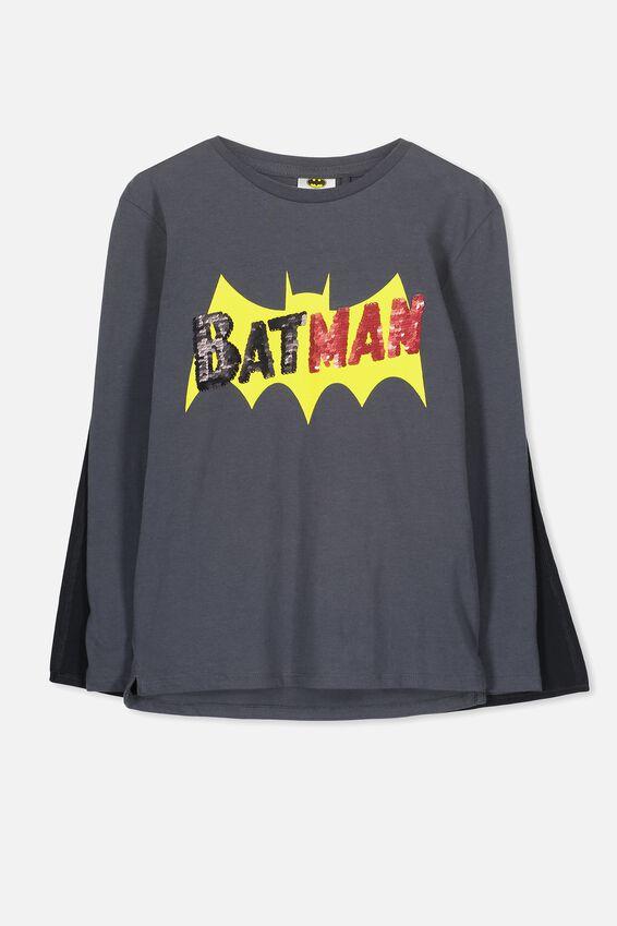 Batman Cape Long Sleeve Tee, GRAPHITE/BATMAN SEQUIN