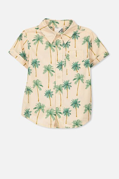 Jackson Short Sleeve Shirt, BLUSH/PALM TREES
