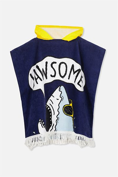 Kids Hooded Towel, YELLOW NAVY JAWSOME
