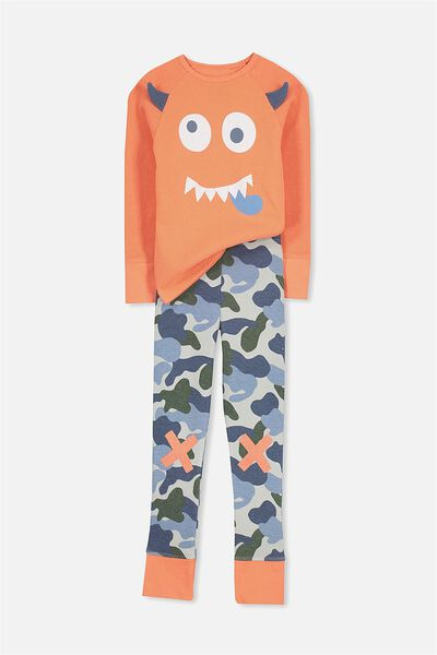 Louis Boys Raglan Long Sleeve Waffle Pyjama Set, CHEEKY MONSTER