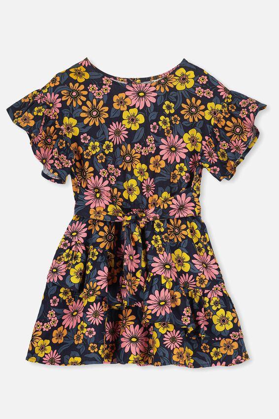 Jodie Short Sleeve Dress, PEACOAT/SEVENTIES FLORAL