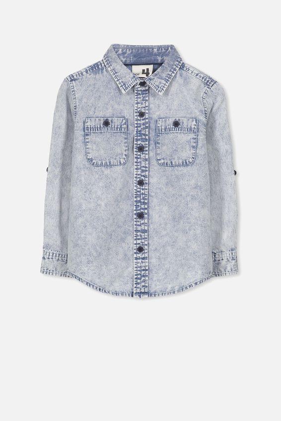Noah Long Sleeve Shirt, LT BLUE ACID DNM
