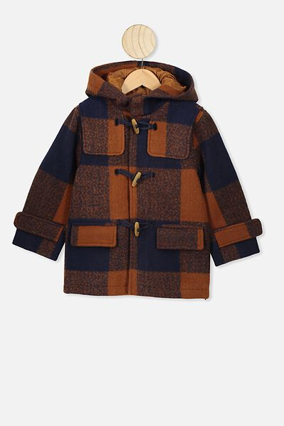 Lennon Duffle Coat, AMBER BROWN/NAVY CHECK