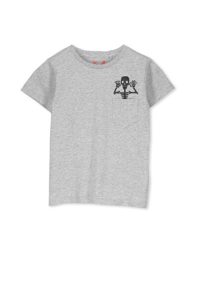 Max Short Sleeve Tee, LT GREY MARLE/SKELETON