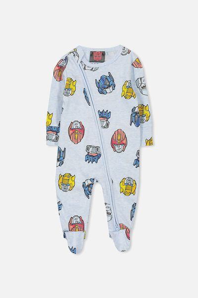 License Zip Through Romper, BLUE MARLE/TRANSFORMERS