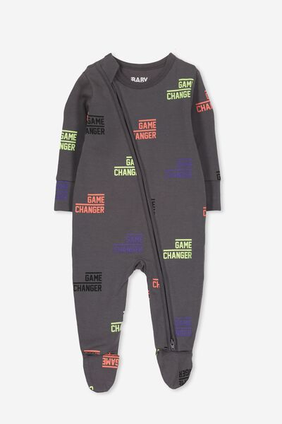 Mini Zip Through Romper, GRAPHITE GREY/GAME CHANGER