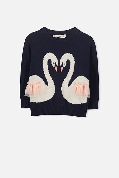 Nancy Knit Jumper, PEACOAT/KISSING SWANS