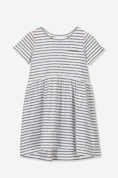 Freya Short Sleeve Dress, WHITE/PEACOAT STRIPE/STARS