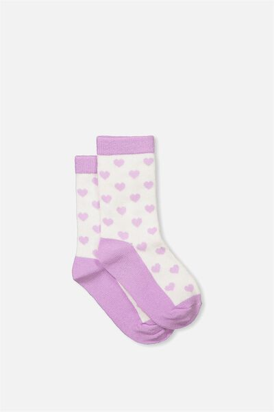 Fashion Kooky Socks, LILAC HEARTS