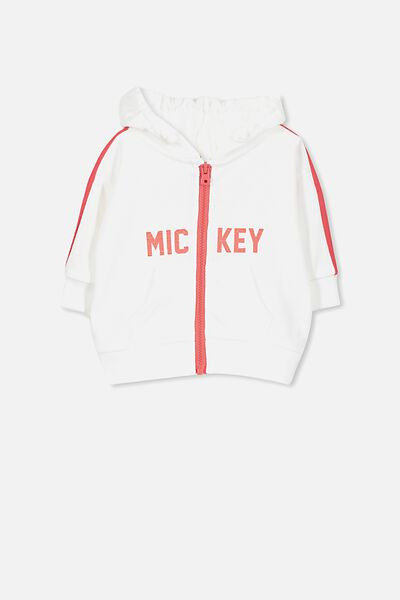 Skyler Drop Shoulder Hooded Zip Jumper, VANILLA/MICKEY