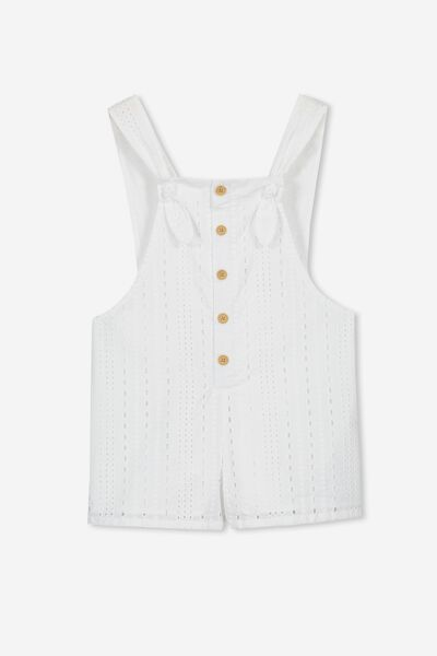 Tyra Embroidered Playsuit, WHITE