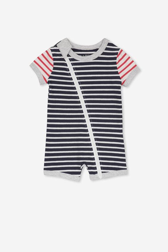 Mini Snug Short Slv Zip Through Romper, INDIAN iNK/LOLLIPOP/WHITE STRIPE