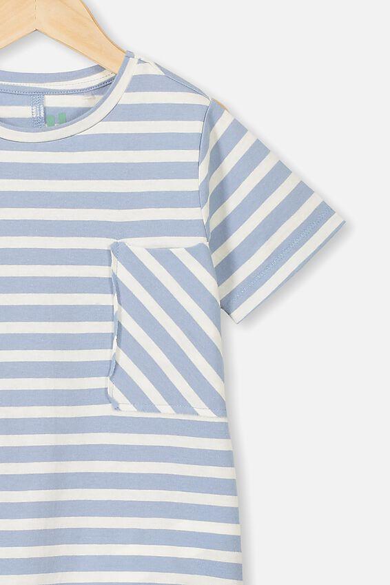 Core Short Sleeve Tee, DUSTY BLUE RETRO STRIPE SPLICE