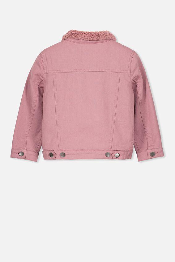 Jessie Sherpa Denim Jacket, DUSTY BERRY