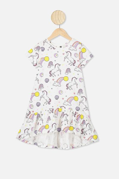 Joss Short Sleeve Dress, VANILLA/UNICORN LOVE