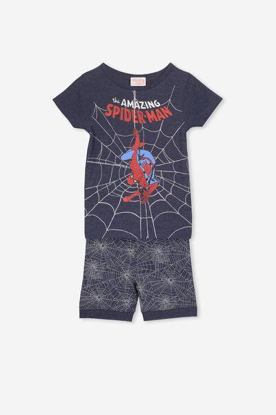 Peter Boys Short Sleeve PJ Set, LCN MAR SPIDERMAN NAVY WEB