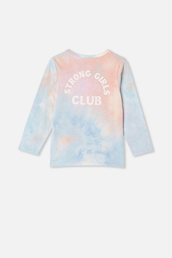 Stevie Long Sleeve Embellished Tee, PURPLE TIE DYE STRONG GIRLS