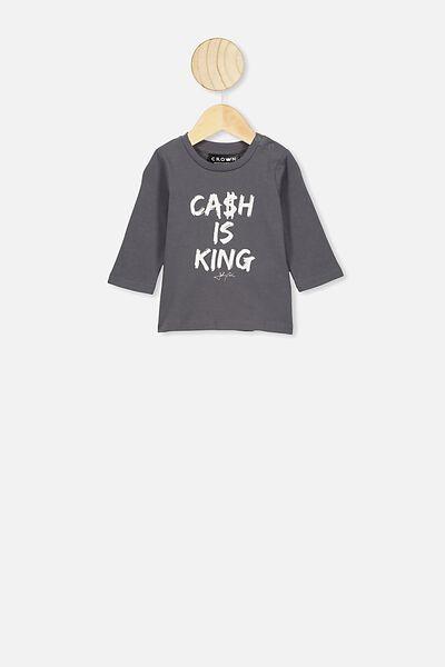 Jamie Long Sleeve Tee, LCN MT RABBIT GREY/CASH IS KING