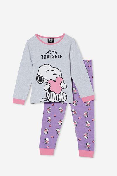 Florence Long Sleeve Pyjama Set Licensed, LCN SNOOPY TAKE CARE OF YOURSELF/GRAPE SODA