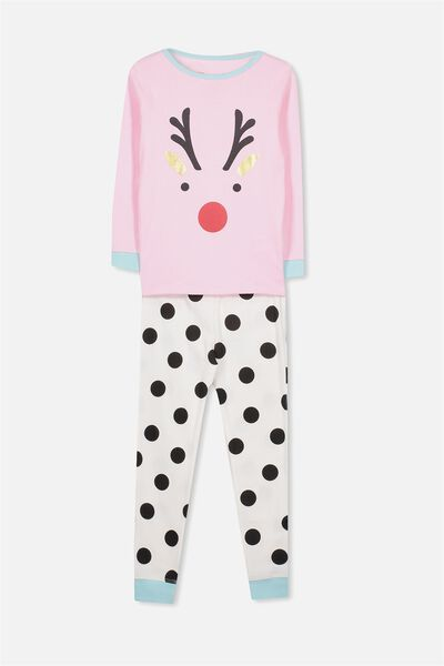 Alicia Long Sleeve Girls PJ Set, XMAS REINDEER SPOT