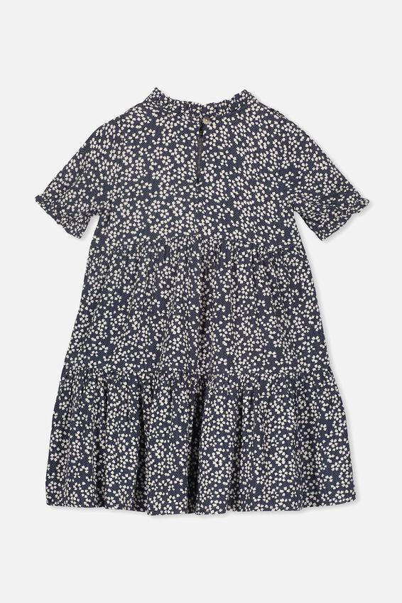 Laura Short Sleeve Dress, INDIAN INK/DOT FLORAL