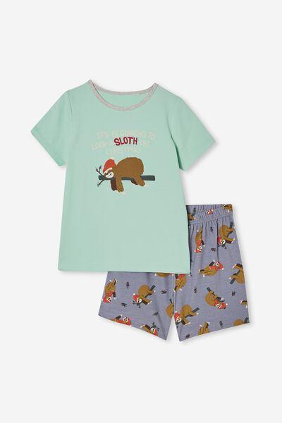 Hudson Short Sleeve Pyjama Set, XMAS LAZY SLOTH/MINT BREEZE