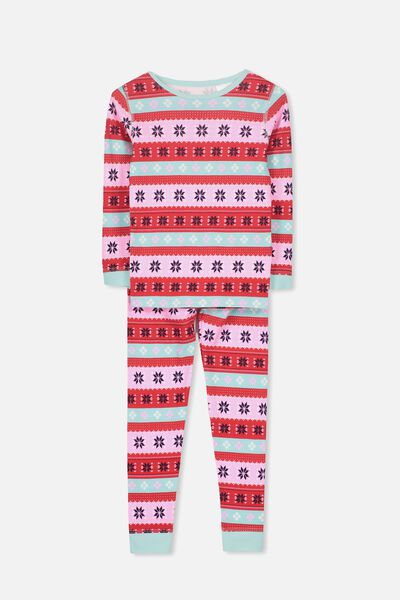 Alicia Long Sleeve Girls PJ Set, XMAS GIRLS FAIRISLE