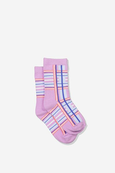 Fashion Kooky Socks, LILAC TARTAN