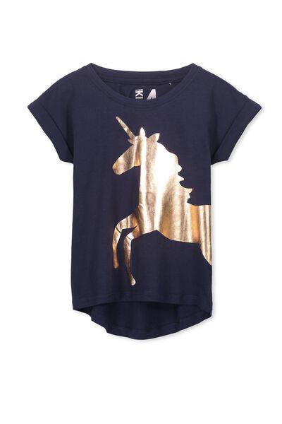 Penelope Short Sleeve Roll Up Tee, PEACOAT/GOLD FOIL UNICORN