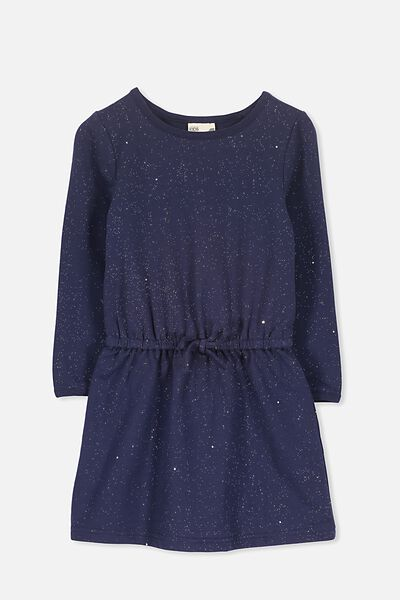 Scout Long Sleeve Dress, PEACOAT/HOLOGRAPHIC SPECKLE