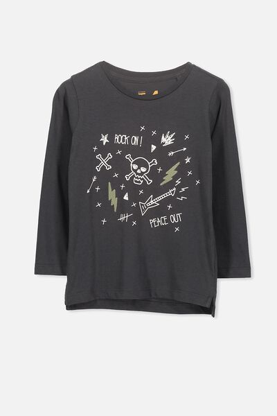 Tom Long Sleeve Tee, GRAPHITE ROCK ON/SIS