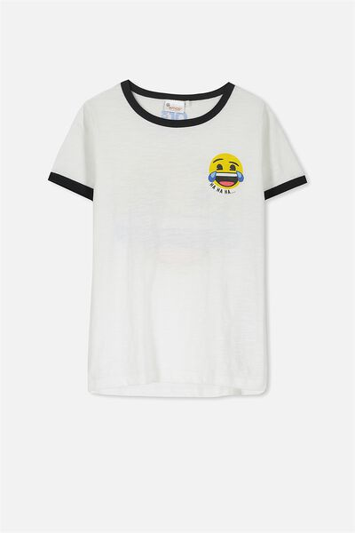 Short Sleeve License Tee, VANILLA/HA HA EMOJI RINGER