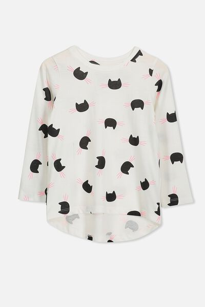Penelope Long Sleeve Curved Hem, VANILLA/CAT YARDAGE
