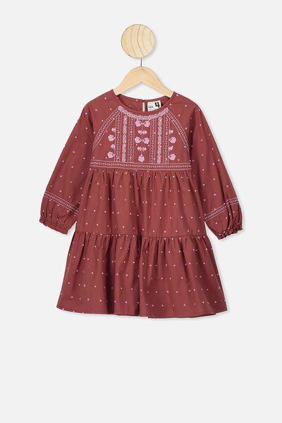 Carmen Long Sleeve Dress, HENNA/PURPLE PARADISE