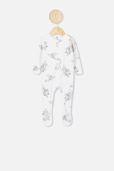 The Snug Long Sleeve Zip Romper, LCN DIS WHITE/TOY STORY