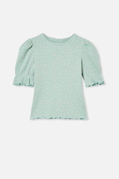 Lyla Rib Trumpet Sleeve Top, DUCK EGG DITSY FLORAL
