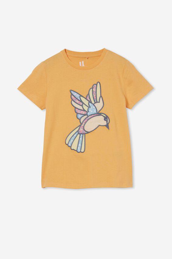 Stevie Short Sleeve Embellished Tee, PAPAYA/PATCHWORK HUMMING BIRD