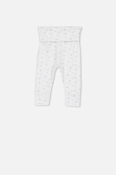 Newborn Essentials Legging, PURE WHITE/GREY VIOLET LEAF