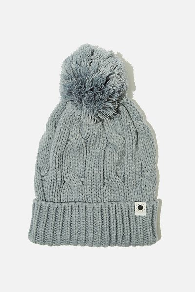 Winter Knit Beanie, DUSTY BLUE CABLE