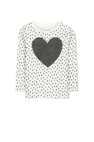 Anna Long Sleeve Split Hem, VANILLA/MINI SCRIBBLE SEQUIN HEART