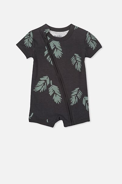 Mini Ss Zip Through Romper, PHANTOM/PALM