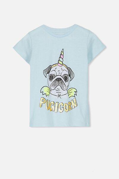 Penelope Short Sleeve Tee, CORYDALIS BLUE MARLE/PUGICORN/SET IN
