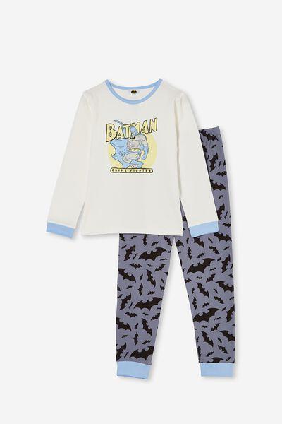 Orlando Long Sleeve Pyjama Set Licensed, LCN WB BATMAN CRIME FIGHTER/VANILLA