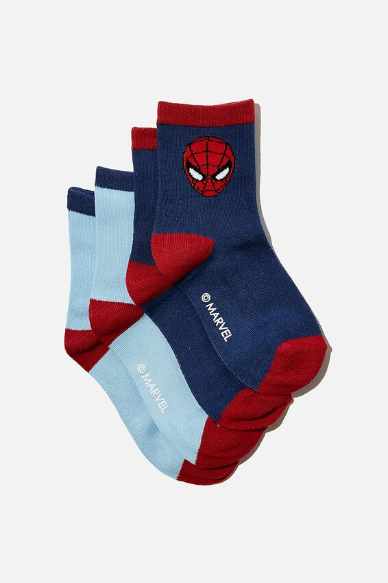 2Pk Spiderman Crew Sock, LCN MAR SPIDERMAN
