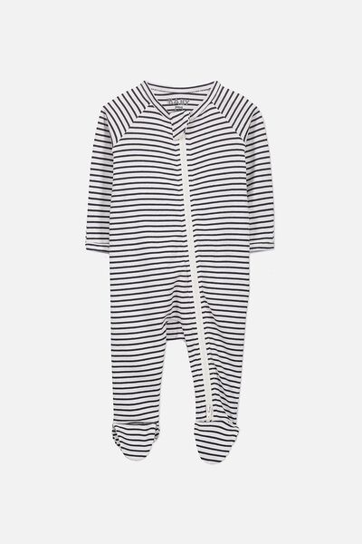 Newborn Long Sleeve Zip Through Romper, VANILLA/INDIAN INK STRIPE