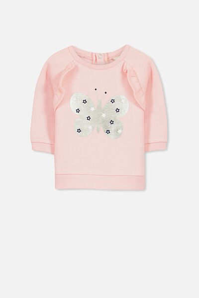 Sunday Frill Crew, WINTER PINK/FOIL BUTTERFLY