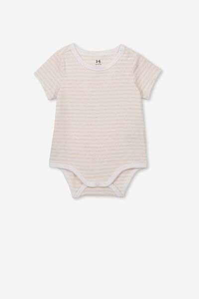 The Short Sleeve Bubbysuit, CHRIS STRIPE CARAMEL MARLE/WHITE