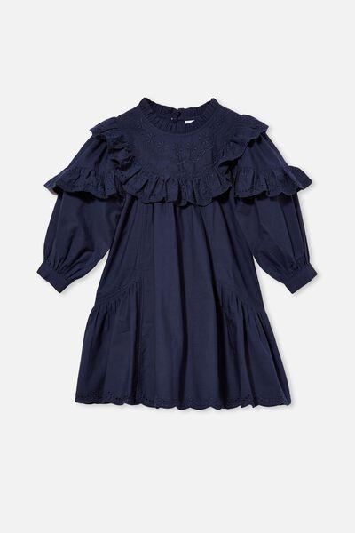 Deonne Long Sleeve Dress, INDIGO